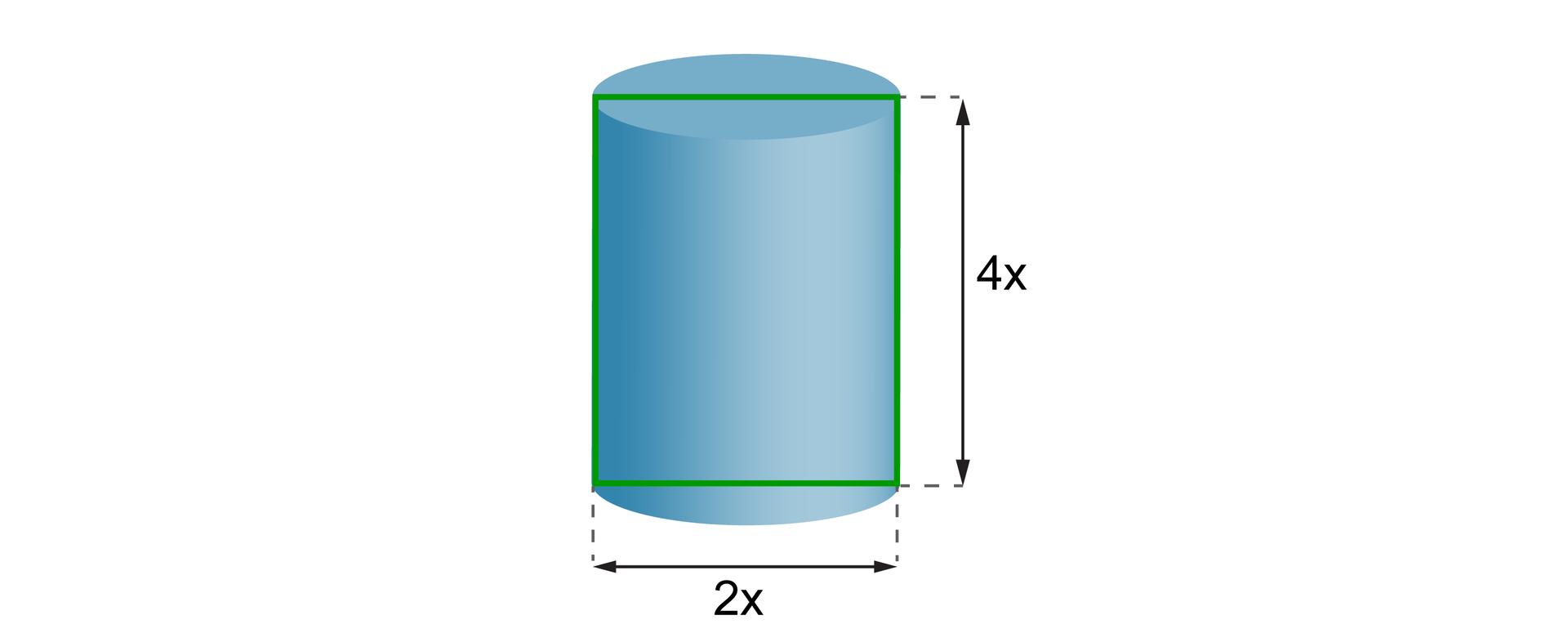 Rysunek walca owysokości równej 4x iśrednicy podstawy 2x.