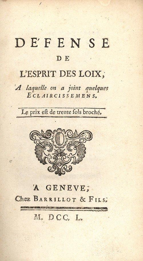 """Strona tytułowa rozprawy: """"O duchu praw"""" Strona tytułowa rozprawy: """"O duchu praw"""" Źródło: 1750, domena publiczna."""