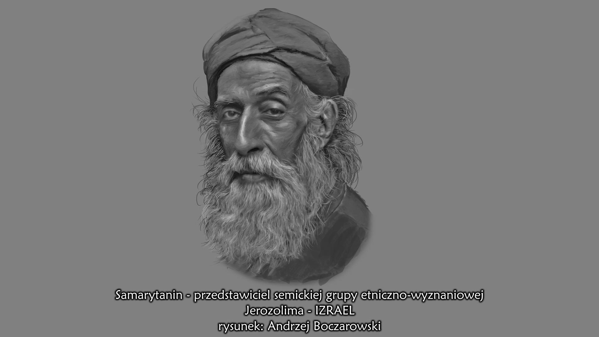 Ilustracja przedstawia portret starego Samarytanina. Mężczyzna otwarzy szczupłej, pociągłej zwysokim czołem . Posiada długa brodę iwąsy. Na głowie ma turban.