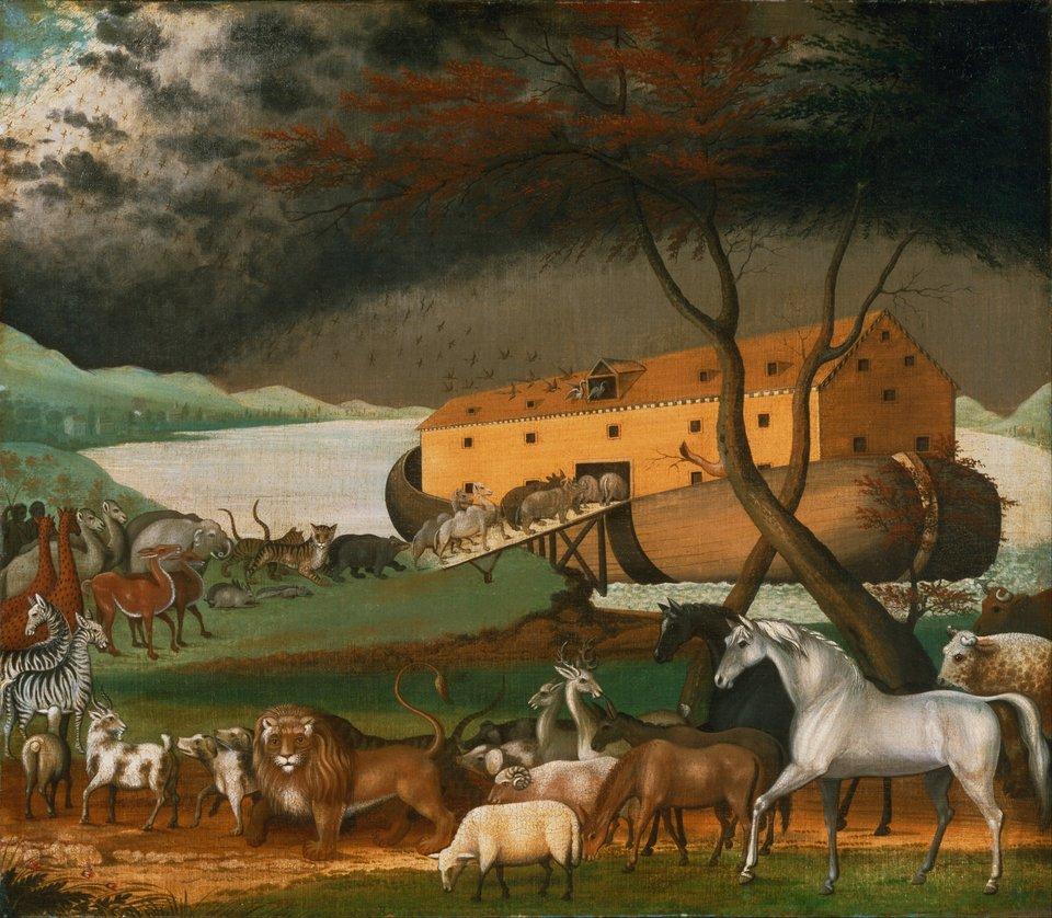 Zwierzęta wchodzące do arki Źródło: Edward Hicks, Zwierzęta wchodzące do arki, 1846, Museum of Art, Filadelfia, domena publiczna.