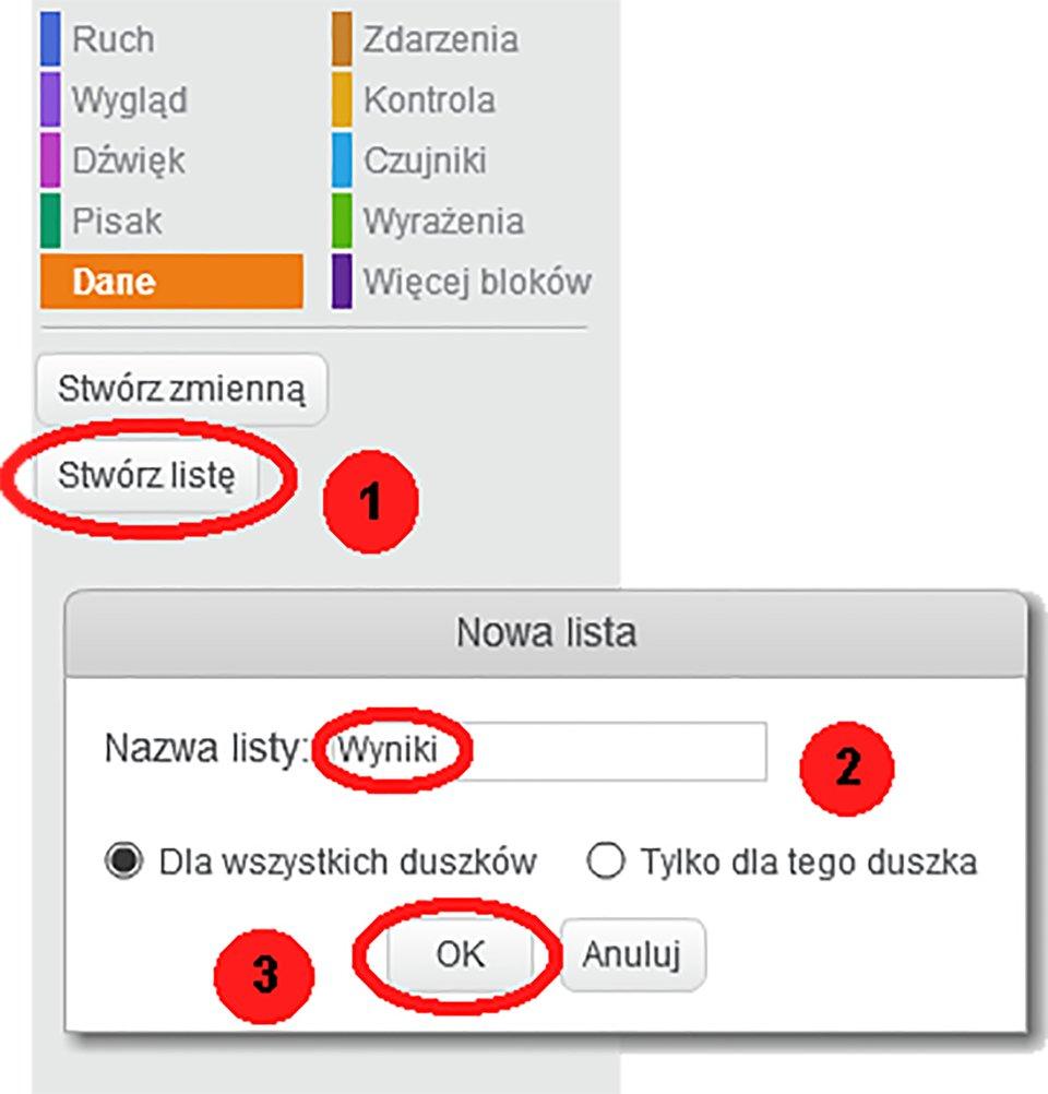 Zrzut ekranów przedstawiających sposób tworzenia listy