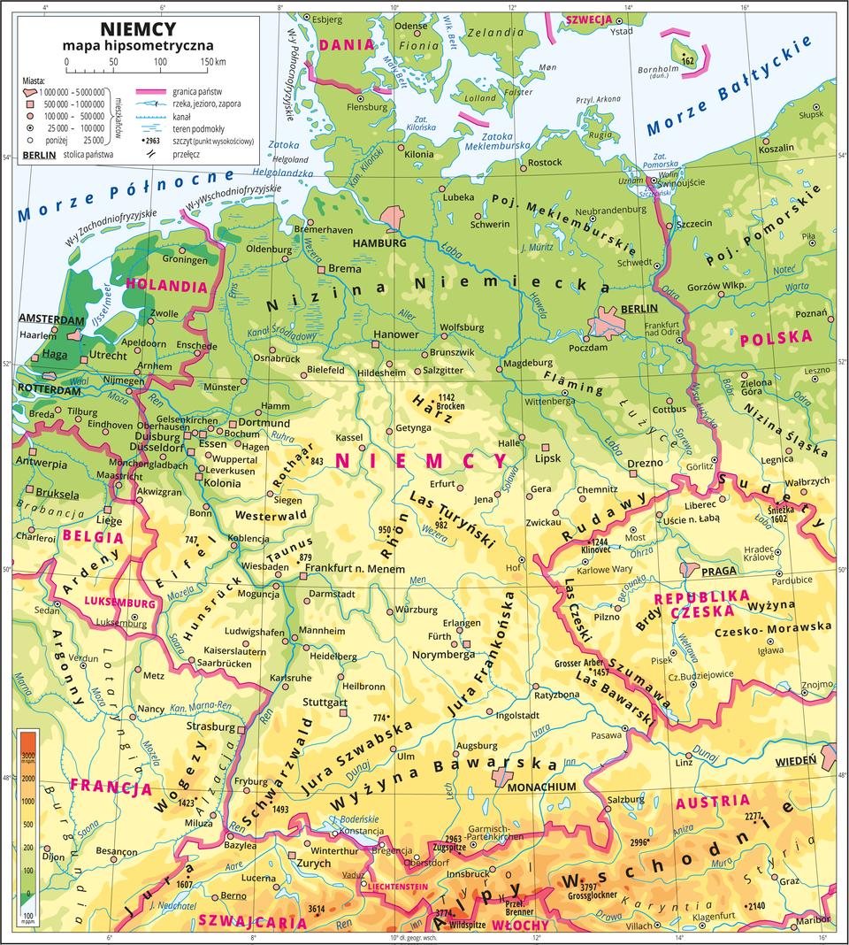 Ilustracja przedstawia mapę hipsometryczną Niemiec. Wobrębie lądów występują obszary wkolorze zielonym, żółtym ipomarańczowym. Na północy przeważają obszary wkolorze zielonym przechodzące ku południowi wkolor żółty ipomarańczowy. Morza zaznaczono kolorem niebieskim. Na mapie opisano nazwy wysp, głównych nizin, wyżyn ipasm górskich, morza, zatok, rzek ijezior. Oznaczono iopisano główne miasta. Oznaczono czarnymi kropkami iopisano szczyty górskie. Różową wstążką oznaczono granice państw. Kolorem czerwonym opisano państwa sąsiadujące zNiemcami. Mapa pokryta jest równoleżnikami ipołudnikami. Dookoła mapy wbiałej ramce opisano współrzędne geograficzne co dwa stopnie. Wlegendzie umieszczono iopisano znaki użyte na mapie.