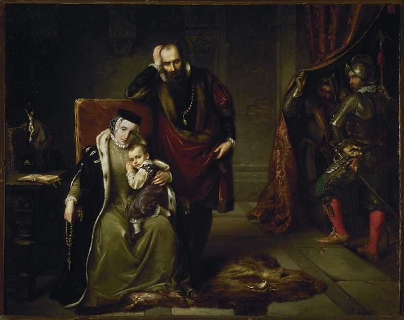 Katarzyna Jagiellonka zsynem Zygmuntem wwięzieniu Gripsholm Katarzyna Jagiellonka (najmłodsza córkakróla PolskiZygmunta IStaregoiBony Sforzy, siostra Zygmunta II Augusta iAnny Jagiellonki)zmężem Janem, księciem Finlandii (późniejszym królem Szwecji)izsynem Zygmuntem (późniejszym królem polskim)wuwięzieniuna zamku Gripsholm. To wydarzenie stanowiło podstawę dlawydana anonimowo w1570 rokupierwszej polskiej historiaSzwecji -Historyja prawdziwa oprzygodzie żałosnej Książęcia Jego M. Finlandzkiego Jana, już na ten czas Szweckiego, Gotskiego iWandalskiego Krola, iKrolewny Jej M. Polskiej Katarzyny Małżonki jego - autorstwo dziełaprzypisuje sięMarcinowi Kromerowi. Źródło: Józef Simmler, Katarzyna Jagiellonka zsynem Zygmuntem wwięzieniu Gripsholm, 1859, olej na płótnie, Muzeum Narodowe wWarszawie, domena publiczna.