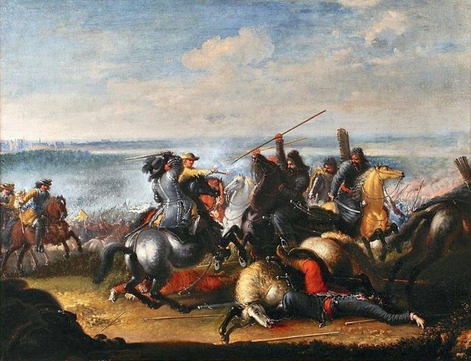 Wcentrum obrazu widać króla Karola XGustawa, konno, zrapierem wprawej ręce. Jest atakowany od prawej stronyprzez co najmniej czterech konnych Tatarów. Od lewej strony nadciąga odsiecz dragonów szwedzkich. Jeden znich, wysforowawszy się przed pozostałych, strzela zpistoletu do Tatara znajdującego się najbliżej króla. Wtle trwa bitwa. Woddali widać rzekę - Wisłę, aza rzeką, po lewej stronie obrazu, zabudowania Warszawy. Górną połowę obrazu zajmuje niebo zdużą ilością szarobiałych chmur.