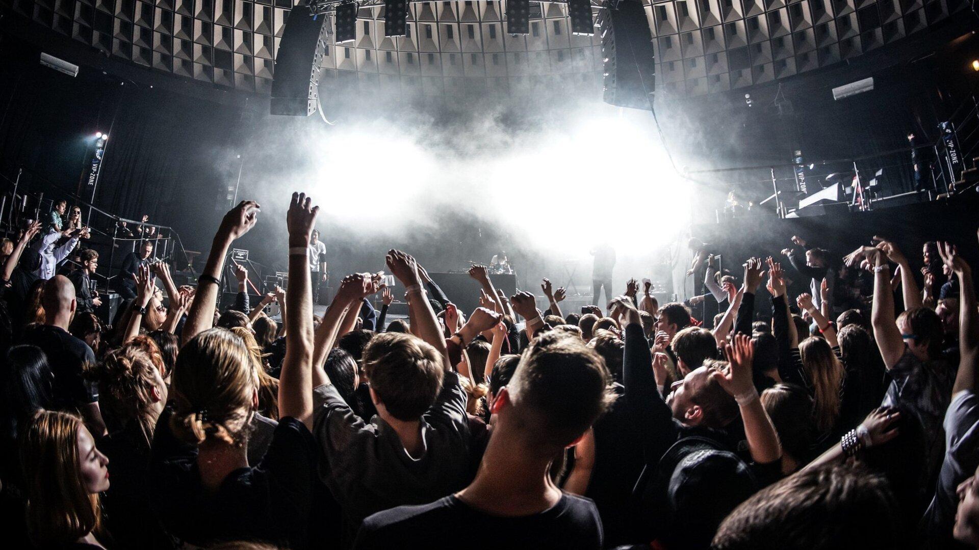 Na ekranie wyświetla się zdjęcie zkoncertu. Jest zrobione zperspektywy widza. Koncert jest wbudynku. Nie wiadomo, jaki zespół występuje. Wtłumie znajduje się głównie młodzi ludzie, którzy mają uniesione ręce, ana nich białe opaski. Na scenie unosi się sztuczna mgła, aprzez nią przebija się białe, silne światło. Sufit jest tak zaprojektowany, aby dźwięk roznosił się po całej sali. Służą do tego specjalne wyżłobienia oraz duże głośniki, które są lekko wygięte wkształcie łuku.