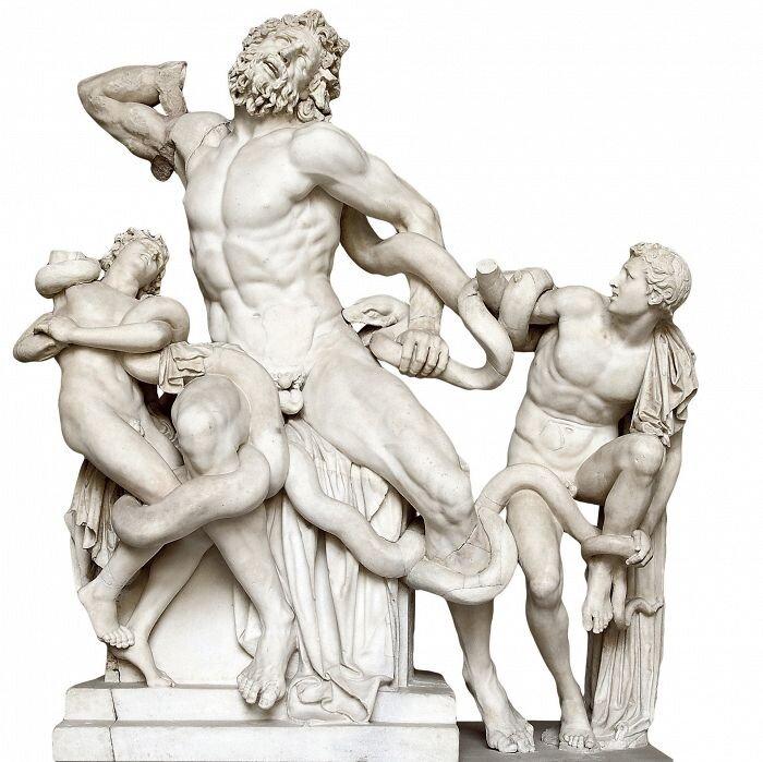 Laokoon ijego synowie Źródło: Atenodoros zRodos , Polidoros , Agesandros, Laokoon ijego synowie, ok. 150–50 p.n.e., Musei Vaticani (Cortile del Belvedere), licencja: CC BY 3.0.