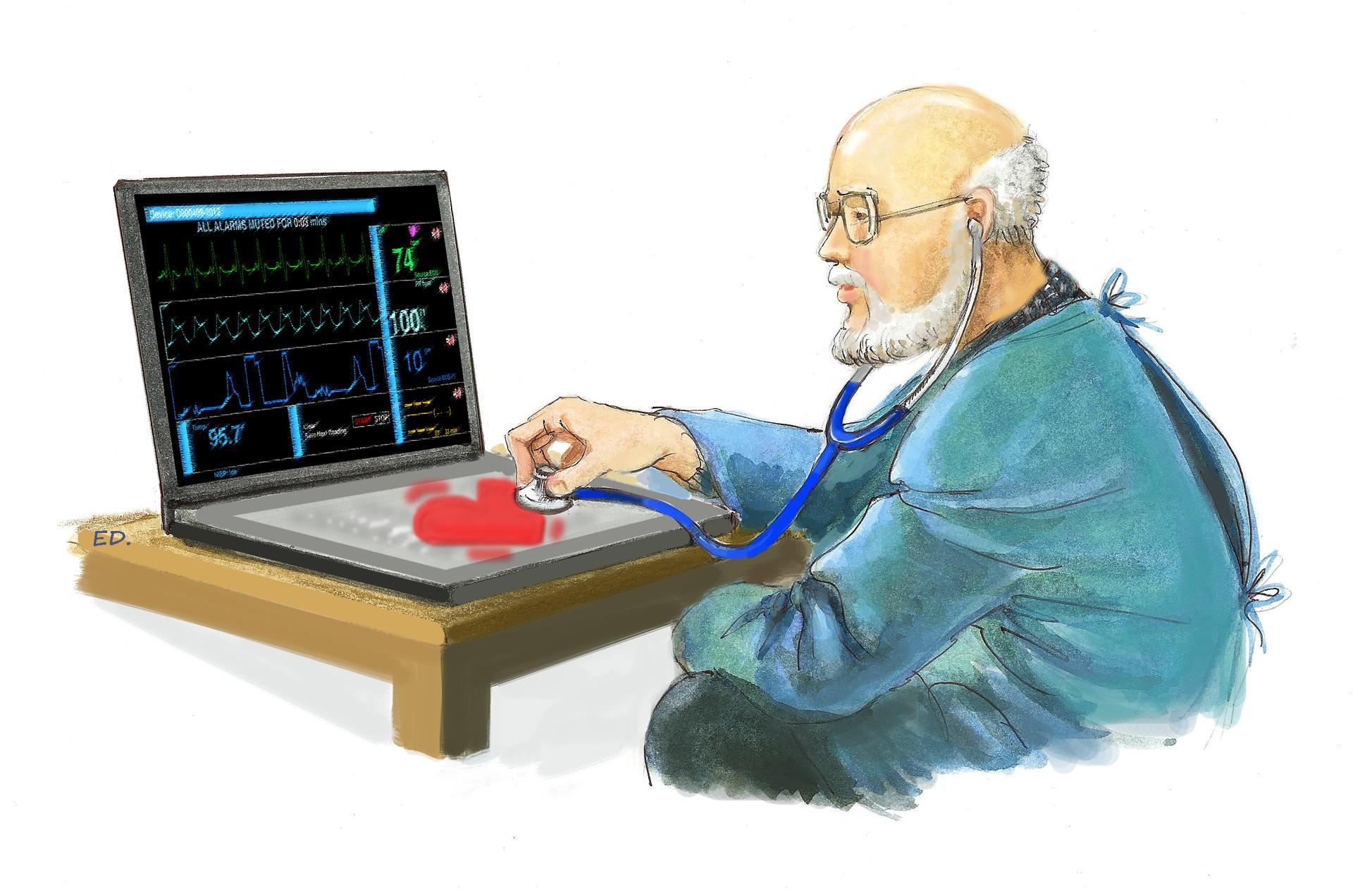 Ilustracja przedstawiająca lekarza ikomputer