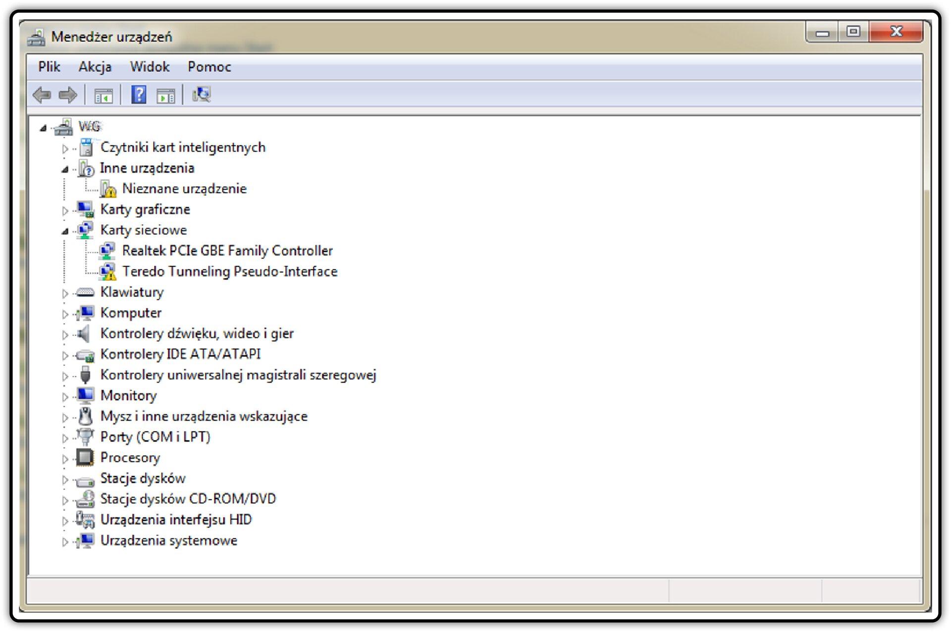 Zrzut okna: Menedżer urządzeń wsystemie operacyjnym Windows