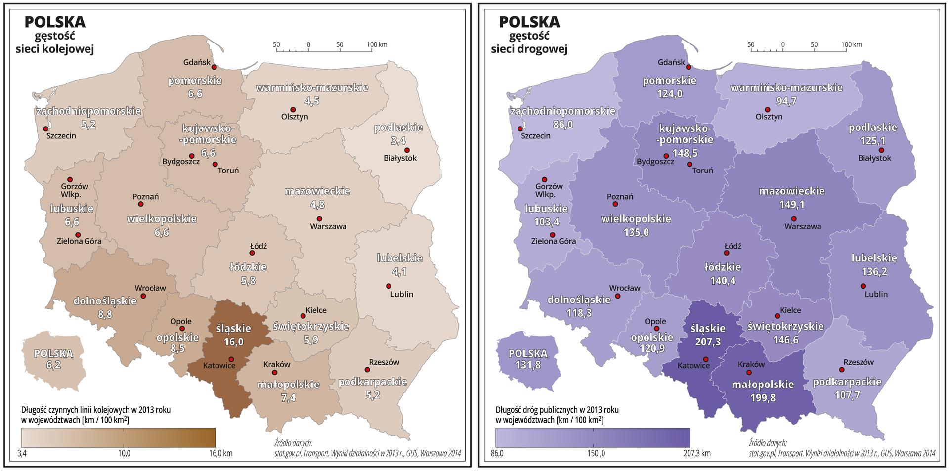 Gęstość sieci transportu lądowego wPolsce