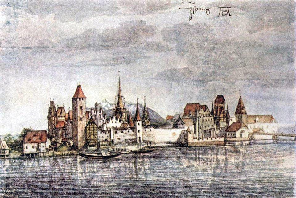Kościół św. Jadwigi – widok miasta Innsbrucku Źródło: Albrecht Dürer, Kościół św. Jadwigi – widok miasta Innsbrucku, 1495, akwarela, Albertina, Vienna, domena publiczna.