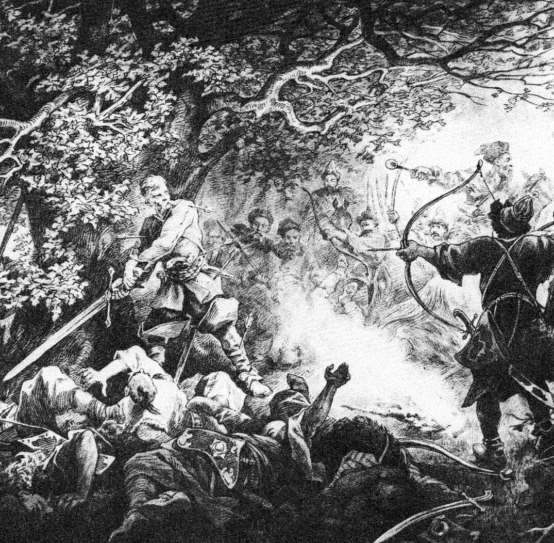 Śmierć Longinusa Podbipięty Źródło: Juliusz Kossak, Śmierć Longinusa Podbipięty, 1886, domena publiczna.