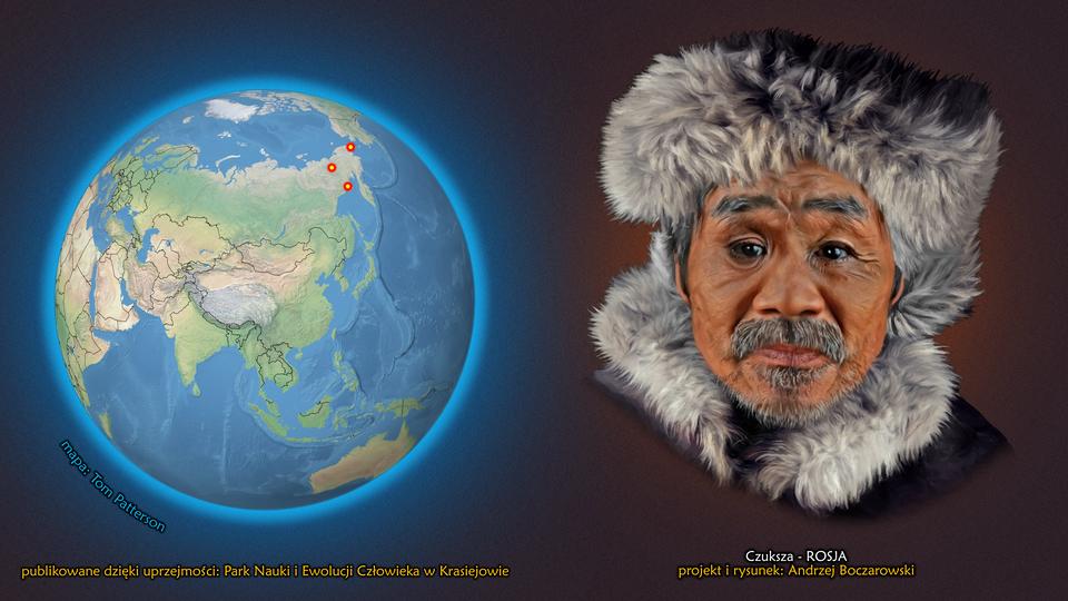 Na ilustracji kula ziemska, zaznaczono trzy punkty wpółnocno-wschodniej Rosji. Obok twarz mężczyzny zwąsami ibrodą. Na głowie ma Futrzaną czapkę. Podpis – Czuksza.