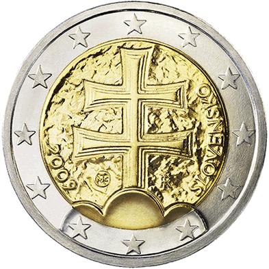 Słowacki rewers 2 euro Źródło: Słowacki rewers 2 euro, 2009, domena publiczna.