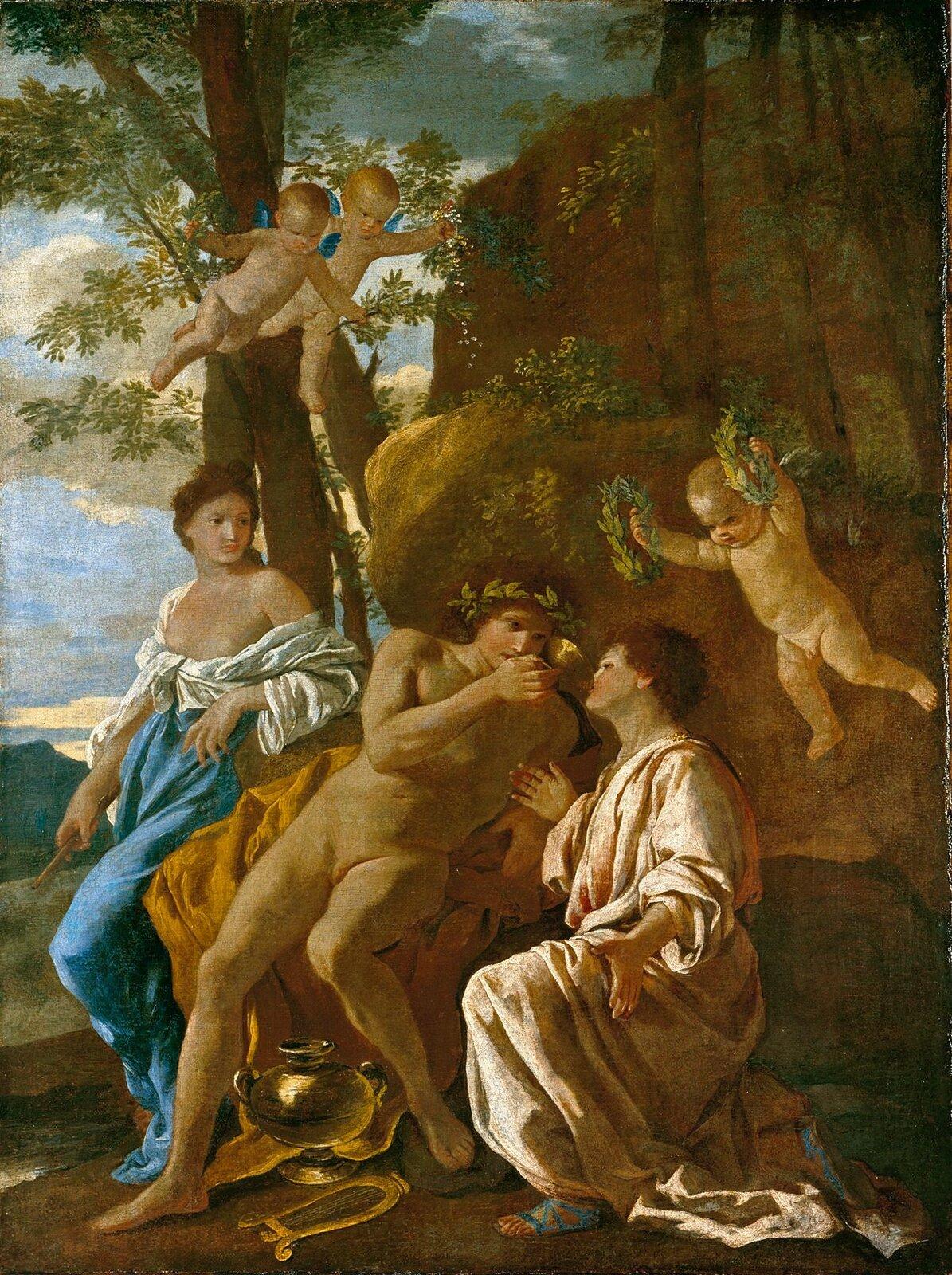 Natchnienie poety Nicolas Poussin (francuski malarz zXVII wieku) tak sobie wyobrażał Natchnienie poety (1628–1629). Źródło: Nicolas Poussin, Natchnienie poety, 1628, Państwowe Muzeum Dolnej Saksonii, domena publiczna.
