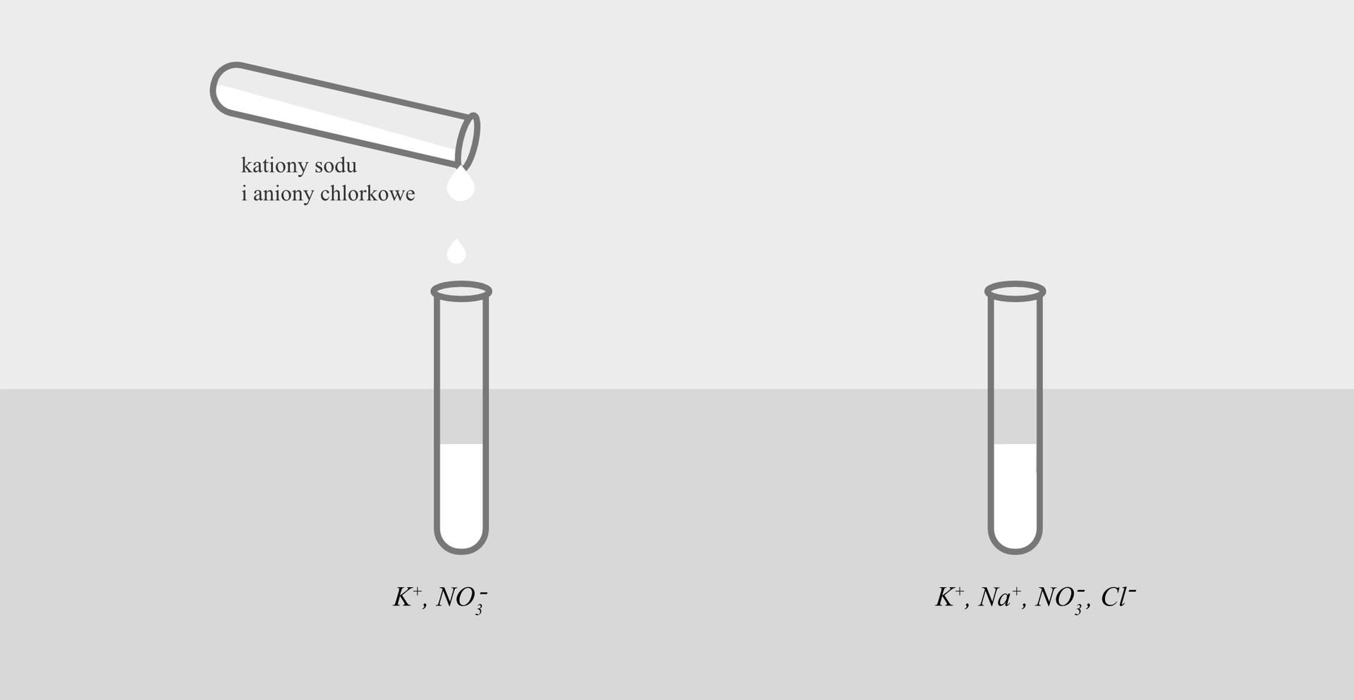 Ilustracja przedstawia rysunek dwóch faz jednego eksperymentu. Po lewej stronie znajduje się dwie probówki zroztworami. Dolna, ustawiona pionowo podpisana jest jonami Kplus iNO3 minus. Górna, przechylona, zktórej zawartość przelewana jest do dolnej nie jest podpisana, co sugeruje taką samą zawartość, jak na ilustracji powyżej. Po prawej stronie rysunku widoczna jest pojedyncza, pełna próbówka zopisem zawartości: jony Kplus, Na plus, NO3 minus iCl minus.