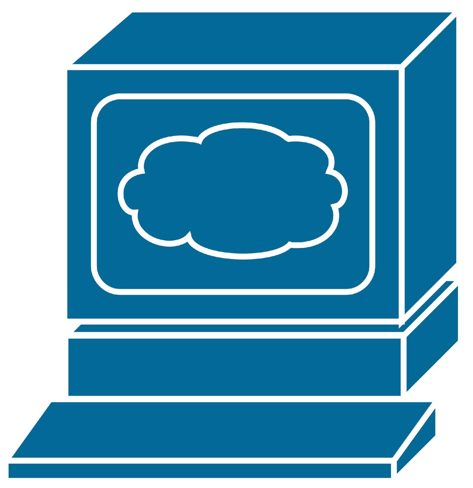 Ilustracja przedstawiająca komputer zwidocznym rysubkiem chmury na ekranie monitora