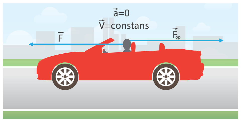 rysunek ilustrujący Izasadę Newtona