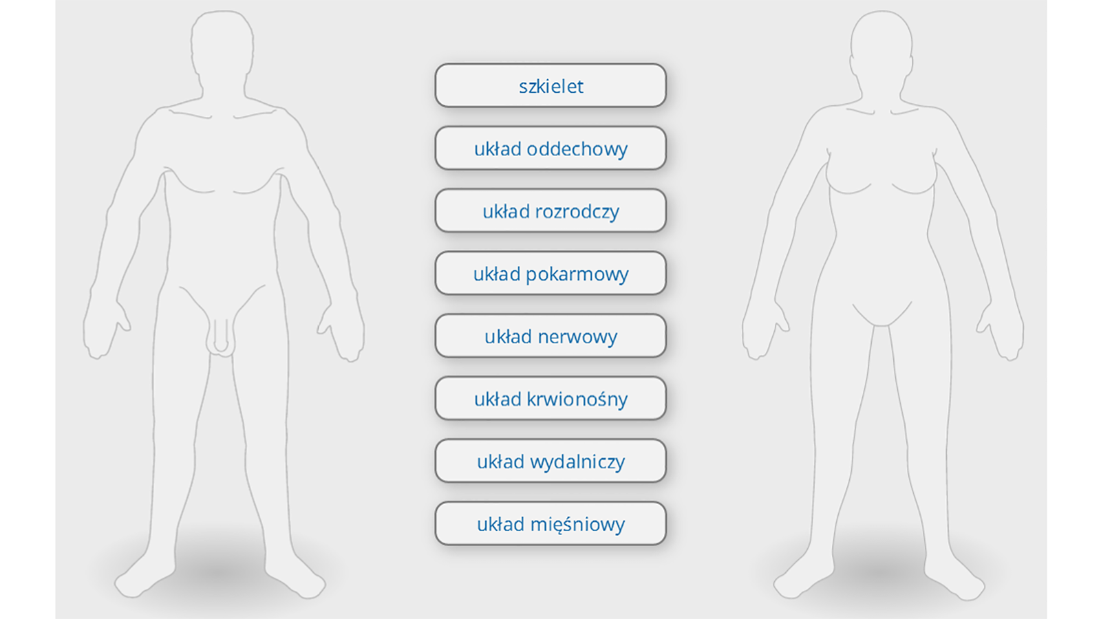 Ilustracja przedstawia budowę ciała człowieka. Widoczny jest kontur ciała, obok niego znajdują się tabliczki znazwami układów. ludzkiego, awnim