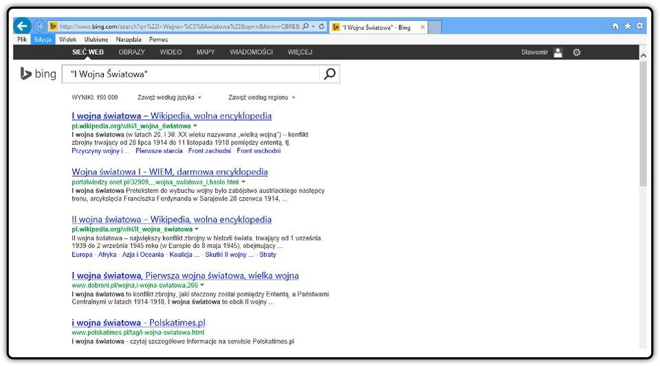 Zrzut okna wyszukiwarki Bing zwpisanymi słowami wcudzysłowie