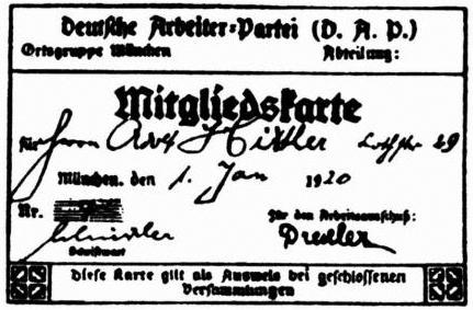 Kopia karty członkowskiejDAP (późniejszej NSDAP) Adolfa Hitlera Kopia karty członkowskiejDAP (późniejszej NSDAP) Adolfa Hitlera Źródło: domena publiczna.
