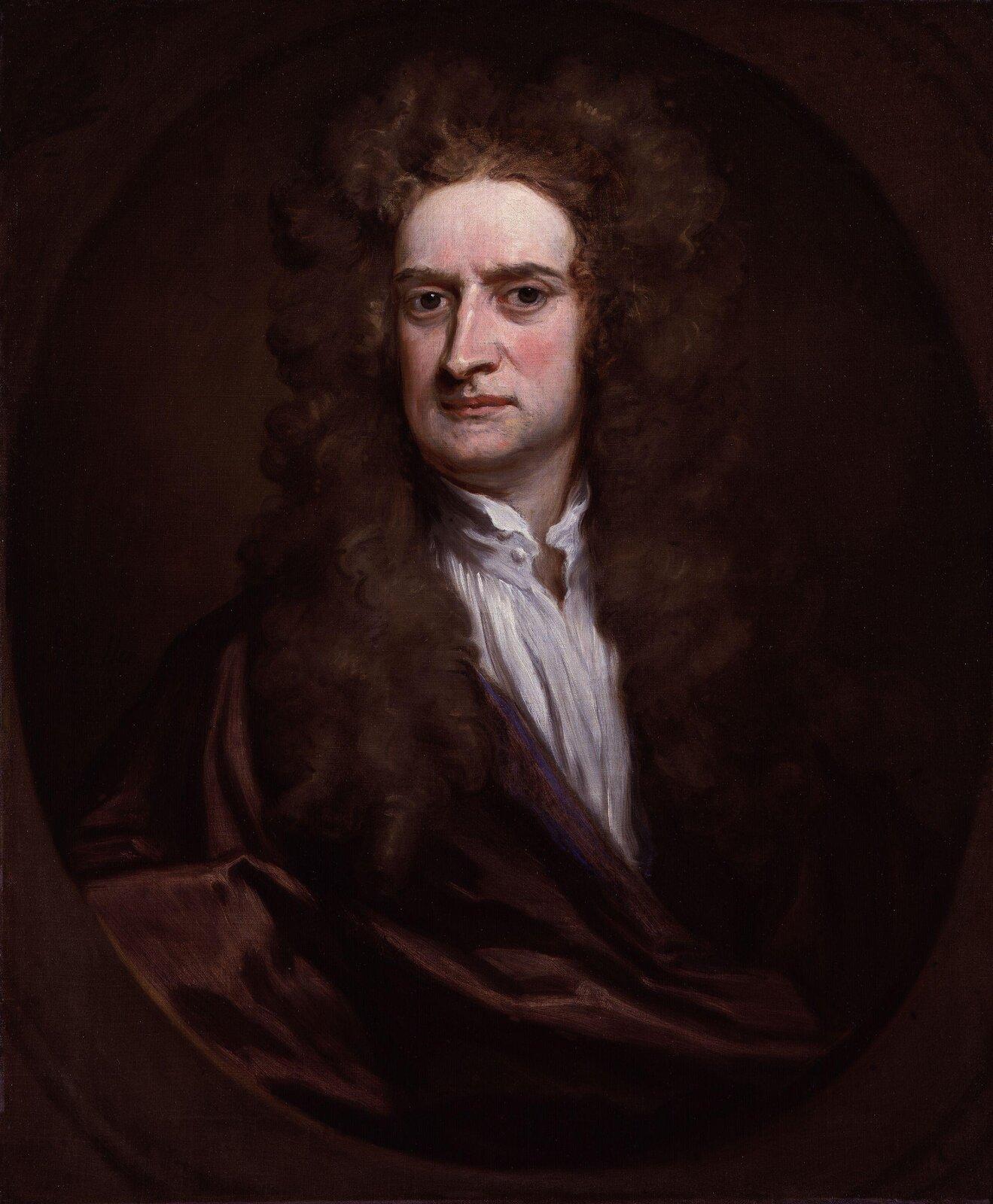 Ilustracja prezentuje portret Isaaca Newtona.