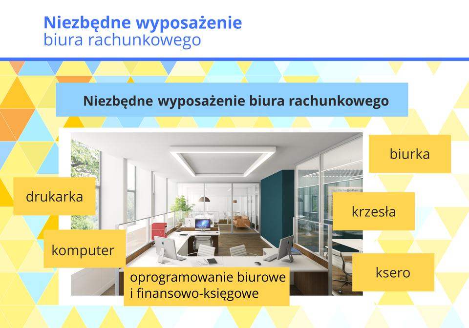 Grafika przedstawia elementy wyposażenia biura rachunkowego.