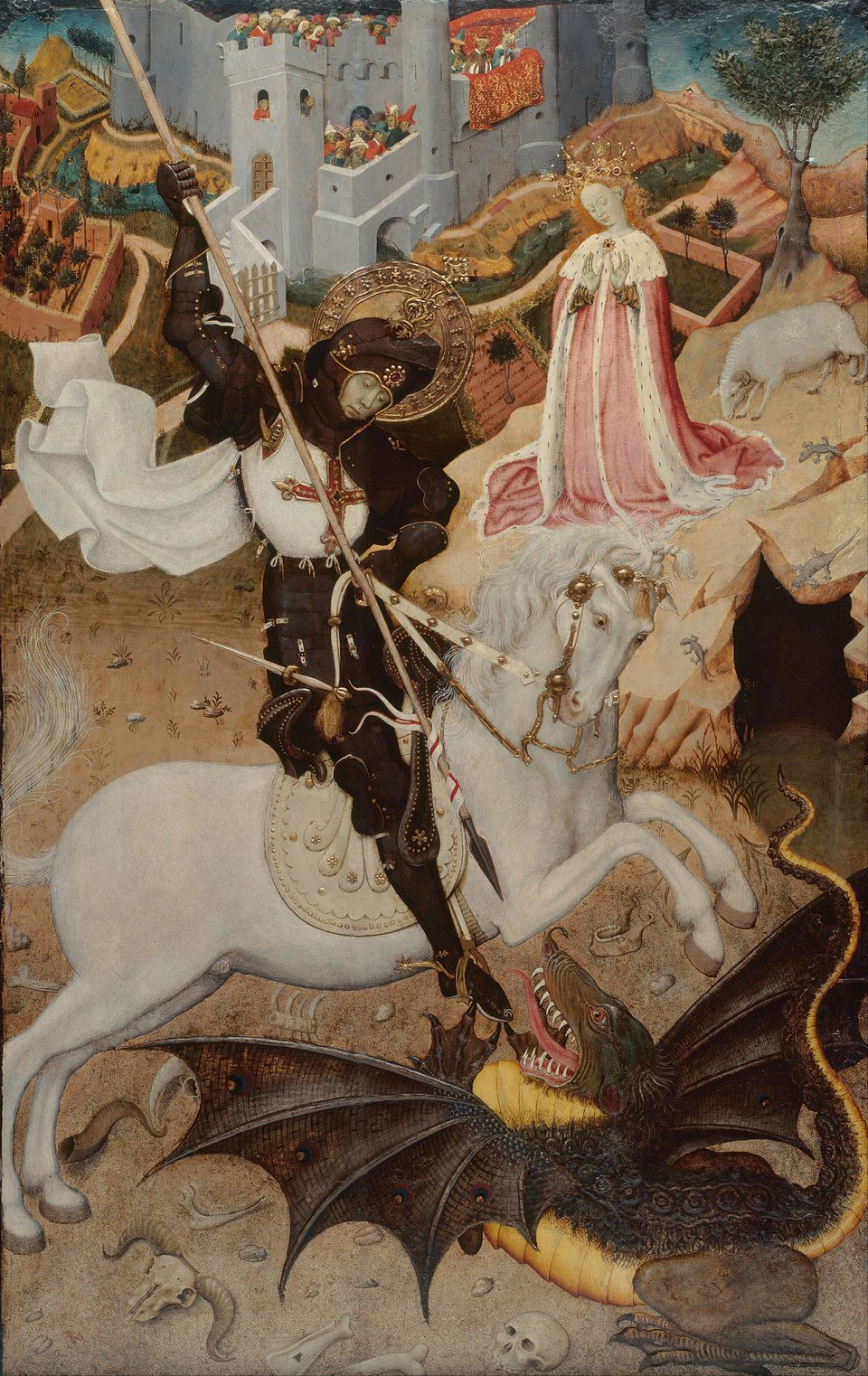 Święty Jerzy zabijający smoka Źródło: Bernat Martorell, Święty Jerzy zabijający smoka, 1434–1435, tempera na desce (malarstwo tablicowe), domena publiczna.