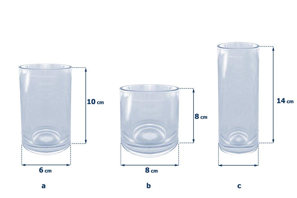Rysunki trzech szklanek wkształcie walców. Pierwsza szklanka ma wysokość równą 10 cm iśrednicę podstawy 6 cm. Druga szklanka ma wysokość równą 8 cm iśrednicę podstawy 8 cm. Trzecia szklanka ma wysokość równą 14 cm iśrednicę podstawy 4 cm.