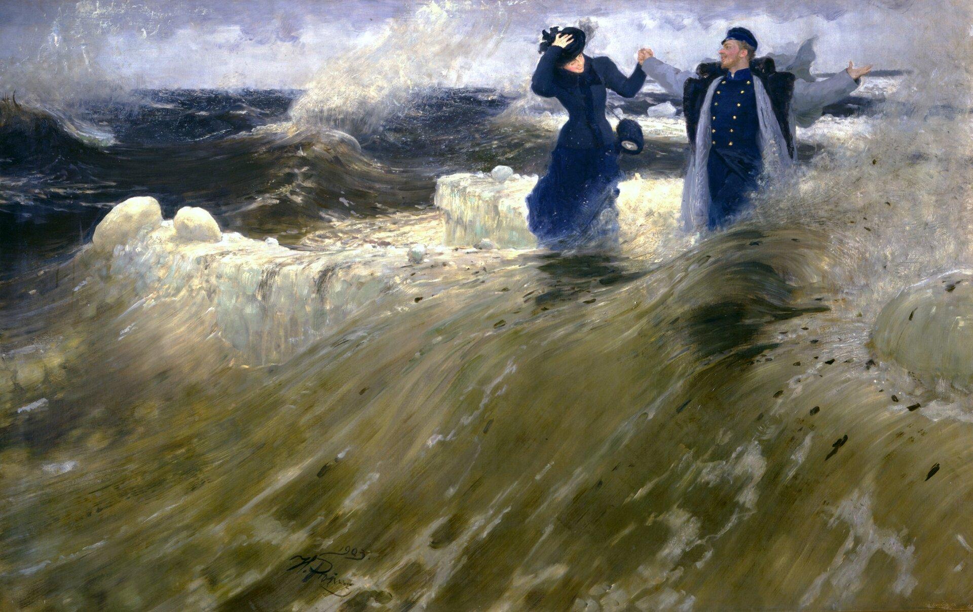 """Ilustracja przedstawia obraz Ilyi Repina pt. """"Co za wolność!"""". Obraz przedstawia parę znajdującą się wzburzonym morzu pośród dużych fal. Kobieca postać ma na sobie granatową sukienkę oraz torebkę, jedną rękę przytrzymuje kapelusz. Mężczyzna ubrany jest wgranatowy mundur, czapkę oraz szary płaszcz. Para trzyma się za ręce. Postaci wyglądają na uśmiechniętych iszczęśliwych. Wdziele przeważają odcienie ciemnej zieleni oraz niebieskiego."""