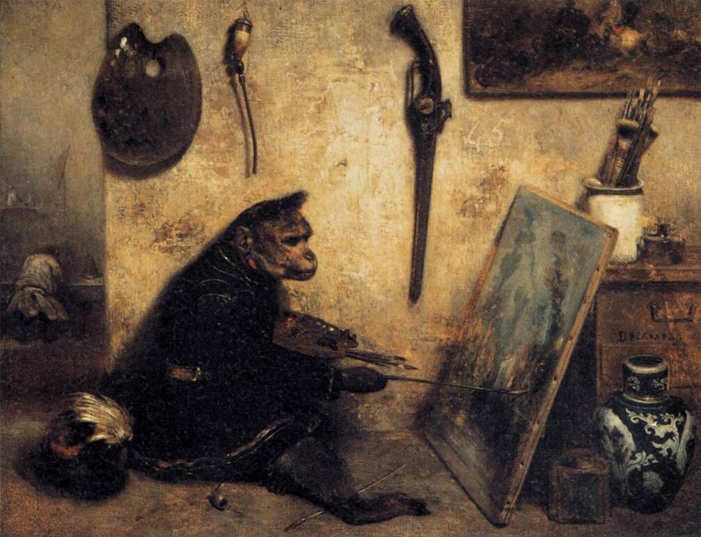 Małpi malarz Źródło: Alexandre-Gabriel Decamps, Małpi malarz, 1833, olej na płótnie, Luwr, domena publiczna.