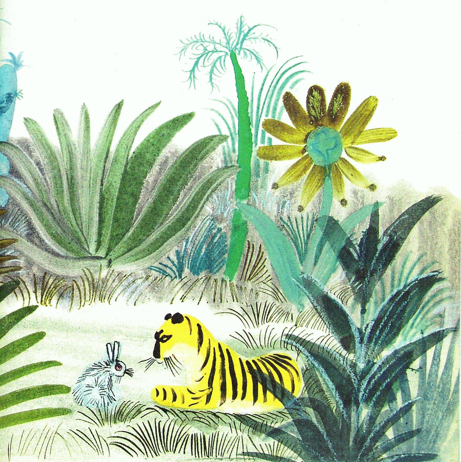 """Ilustracja przedstawia pracę Józefa Wilkonia zksiążki Czesława Janczarskiego """"Tygrys ozłotym sercu"""". Ukazuje leżącego tygrysa, który patrzy na siedzącego naprzeciw królika. Zwierzęta otoczone są zaroślami iegzotycznymi kwiatami."""