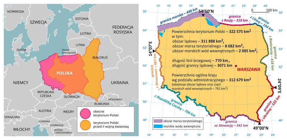 Na ilustracji obok siebie umieszczono dwie mapy iporównano przebieg granic Polski przed drugą wojną światową iobecnie. Na pierwszej mapie, dodatkowo porównano oba obszary, nakładając oba terytoria na siebie. Na drugiej mapie podano najważniejsze dane liczbowe dotyczące Polski.