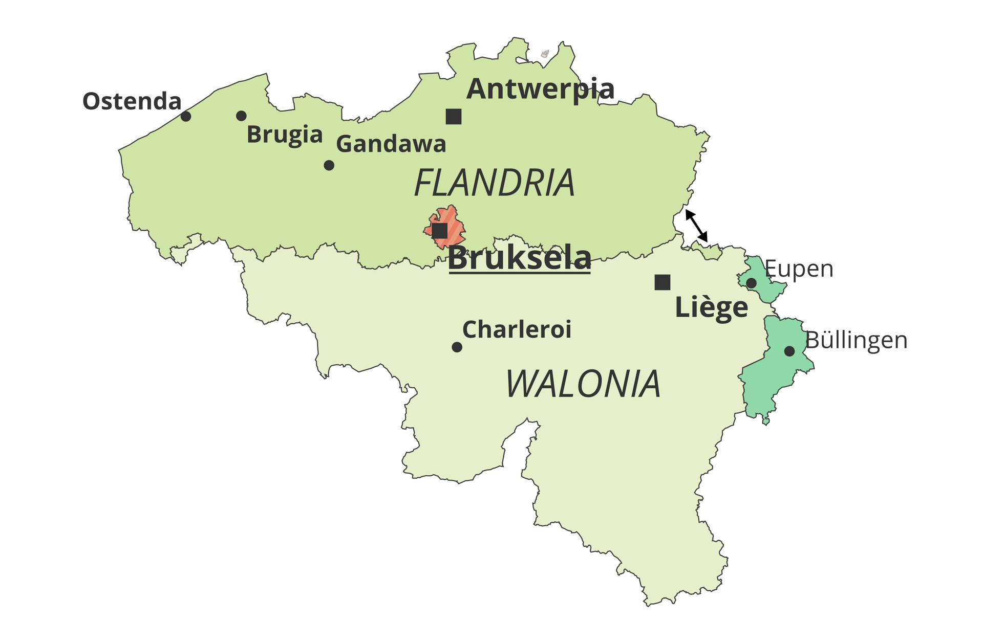 Na Ilustracji mapa pokazująca główne regiony różnojęzyczne wBelgii. Na północy niderlandzkojęzyczna Flandria, na południu francuskojęzyczna Walonia, dwa małe niemieckojęzyczne kantony na wschodzie kraju. WRegionie Stołecznym Brukseli, leżącym na terenie Flandrii obowiązują dwa języki urzędowe: francuski iniderlandzki.