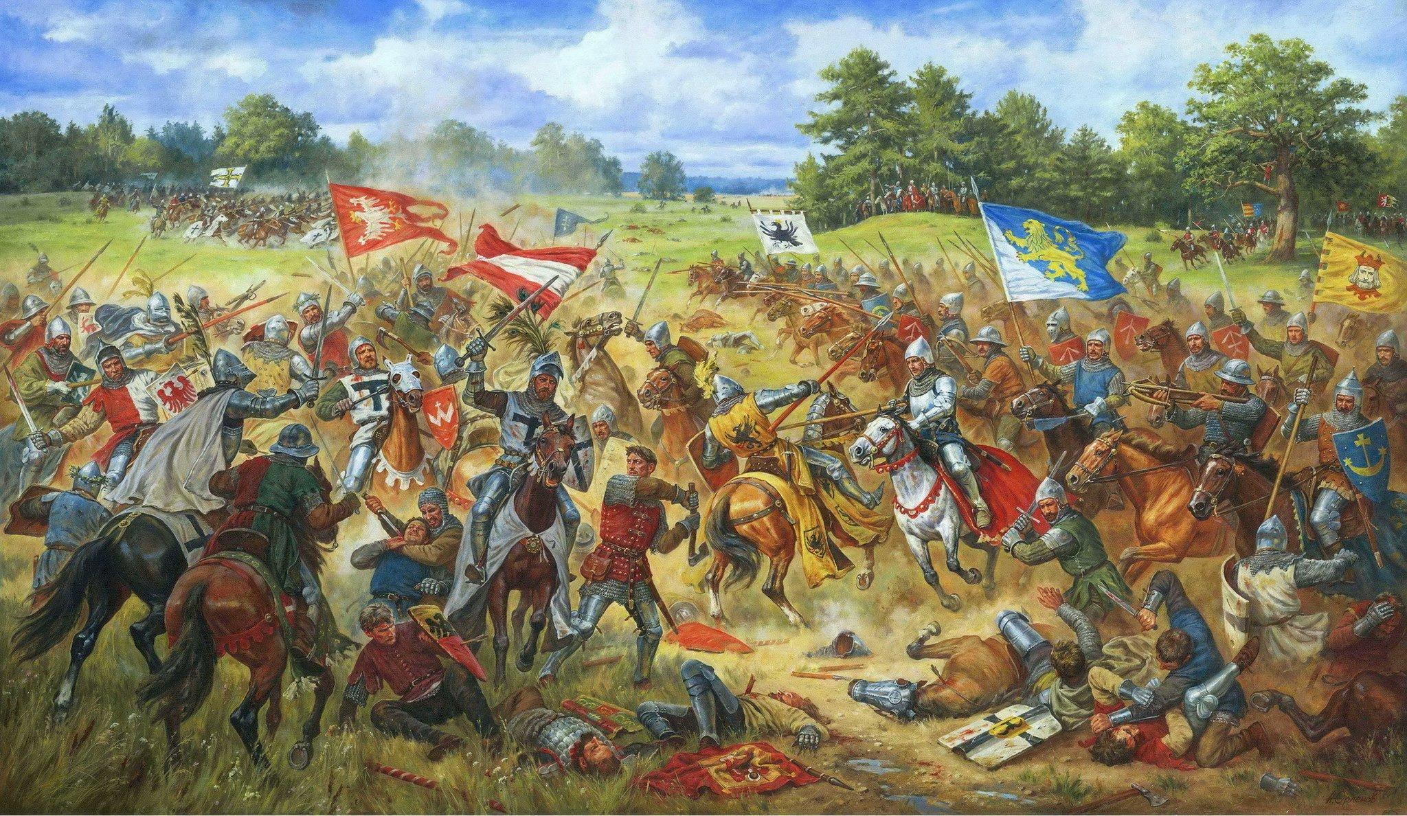 Chorągiew lwowska wbitwie pod Grunwaldem 15 lipca 1410 roku Źródło: Артур Орльонов, Chorągiew lwowska wbitwie pod Grunwaldem 15 lipca 1410 roku, 2012, licencja: CC BY-SA 3.0.