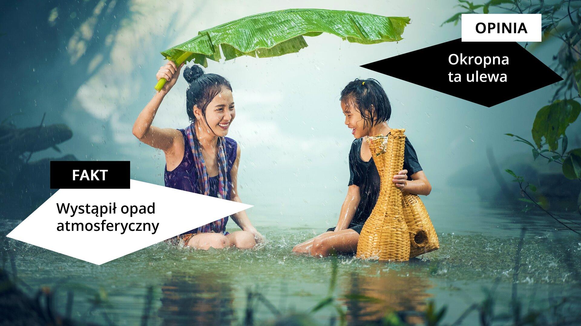 """Wprostokątnym polu wczarnej ramce widzimy ilustrację przedstawiającą dwie kobiety siedzące wkałuży, podczas opadów deszczu. Po lewej stronie widzimy kobietę wniebieskiej bluzce bez rękawów zmokrymi włosami, która trzyma nad głową wielki zielony liść. Poniżej znajduje się czworobok znapisem """"FAKT: Wystąpił opad atmosferyczny"""". Po prawej stronie wgórnej części ilustracji znajduje się czworobok znapisem: """"OPINIA: Okropna ta ulewa"""". Poniżej widzimy kobietę zmokrymi włosami wczarnej mokrej bluzce, trzymającą wrękach dwa wiklinowe pojemniki."""