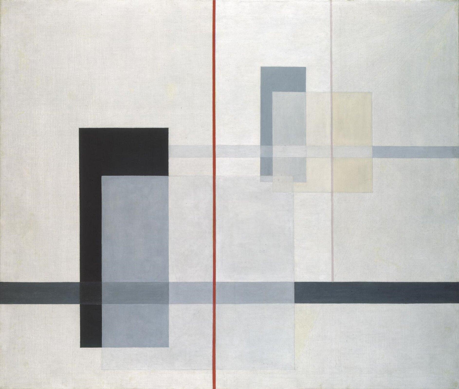"""Ilustracja przedstawia obraz László Moholy-Nagy'ego pt. """"K VII"""". Ukazuje on różne, kolorowe geometryczne kształty. Na środku obrazu znajduje się charakterystyczna czerwona linia."""
