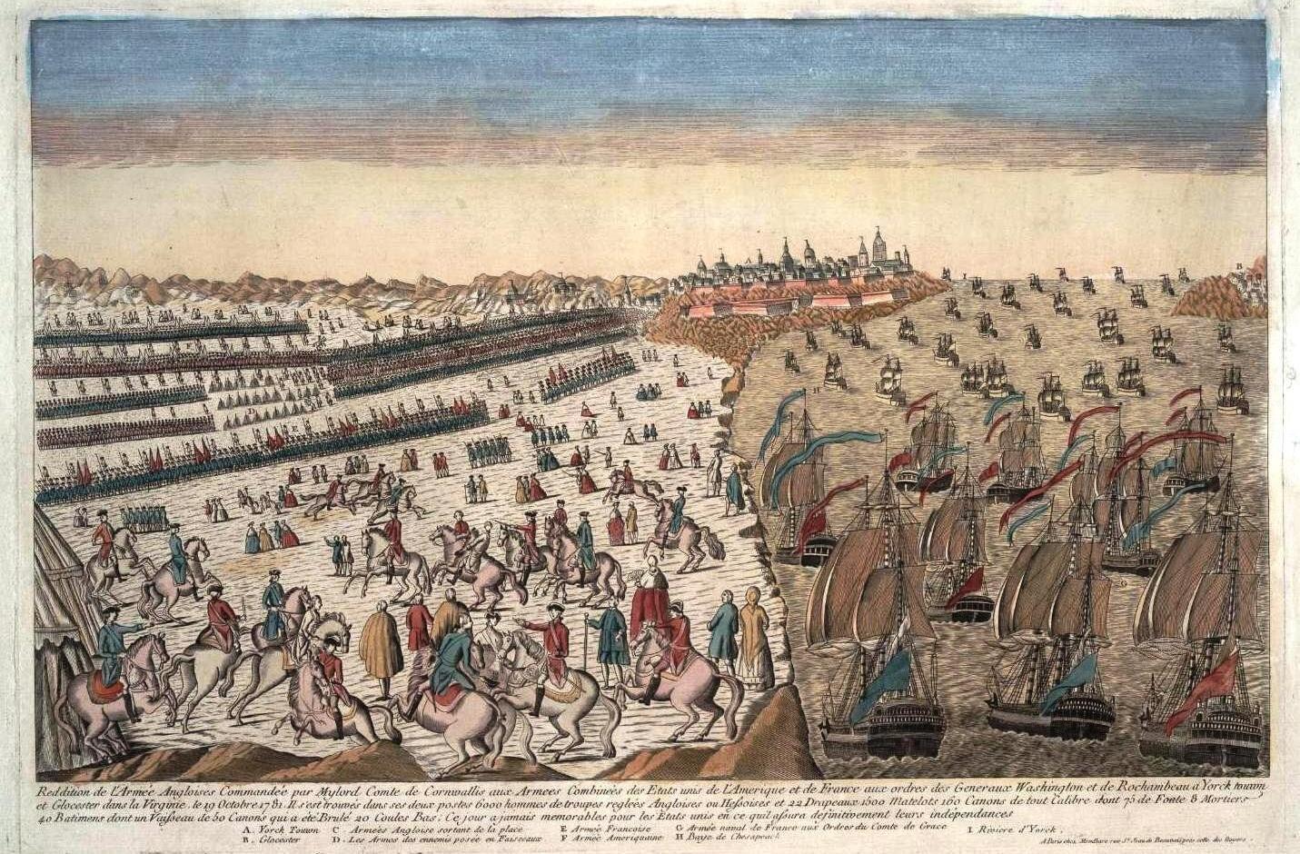 Kolorowana grafika z1781pokazująca francusko-amerykańską blokadę morką ilądową Brytyjczyków zamkniętych wYorktowne. Kolorowana grafika z1781pokazująca francusko-amerykańską blokadę morką ilądową Brytyjczyków zamkniętych wYorktowne. Źródło: 1781, domena publiczna.