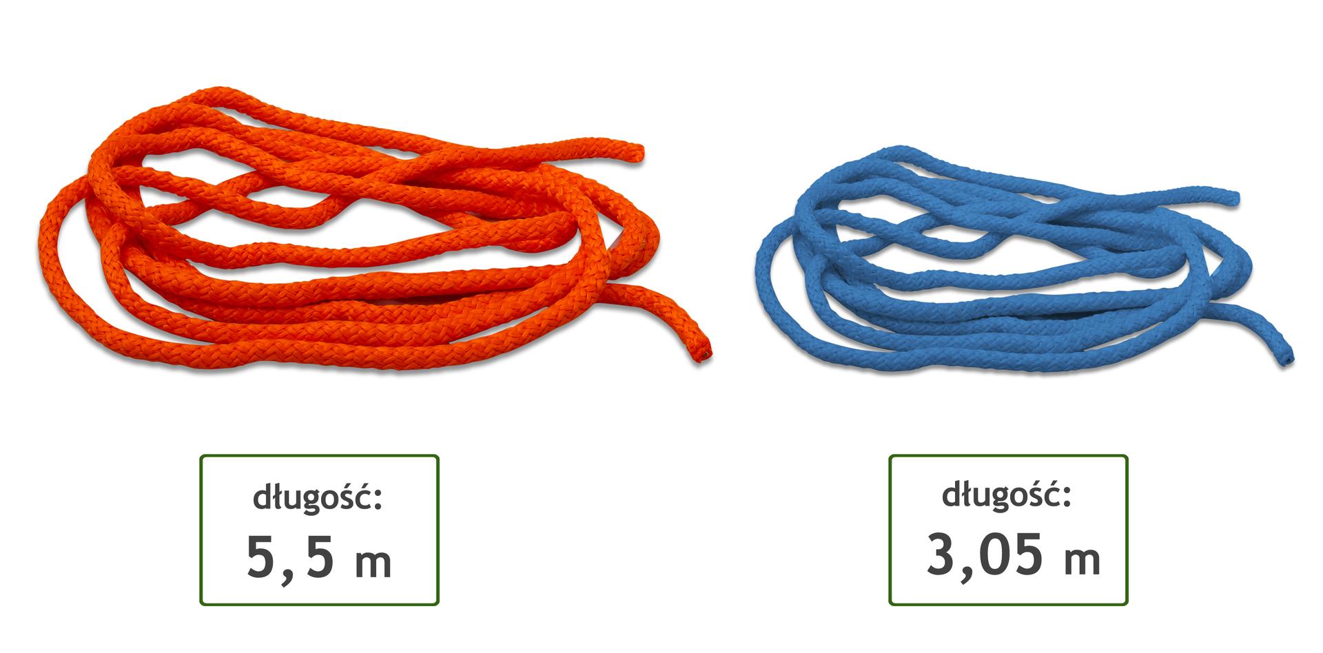 Rysunek dwóch różnych lin. Jedna lina ma długość 5 metrów, druga lina ma długość 3,05 metra.