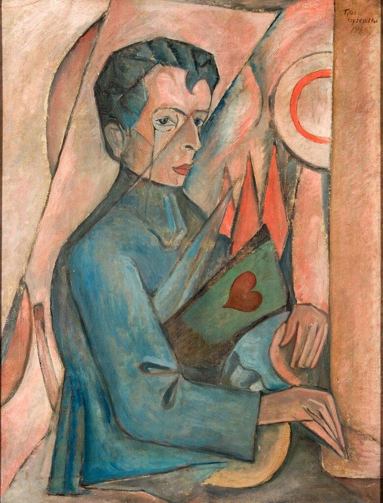 Portret Brunona Jasieńskiego Źródło: Tytus Czyżewski, Portret Brunona Jasieńskiego, 1920, olej na płótnie, domena publiczna.