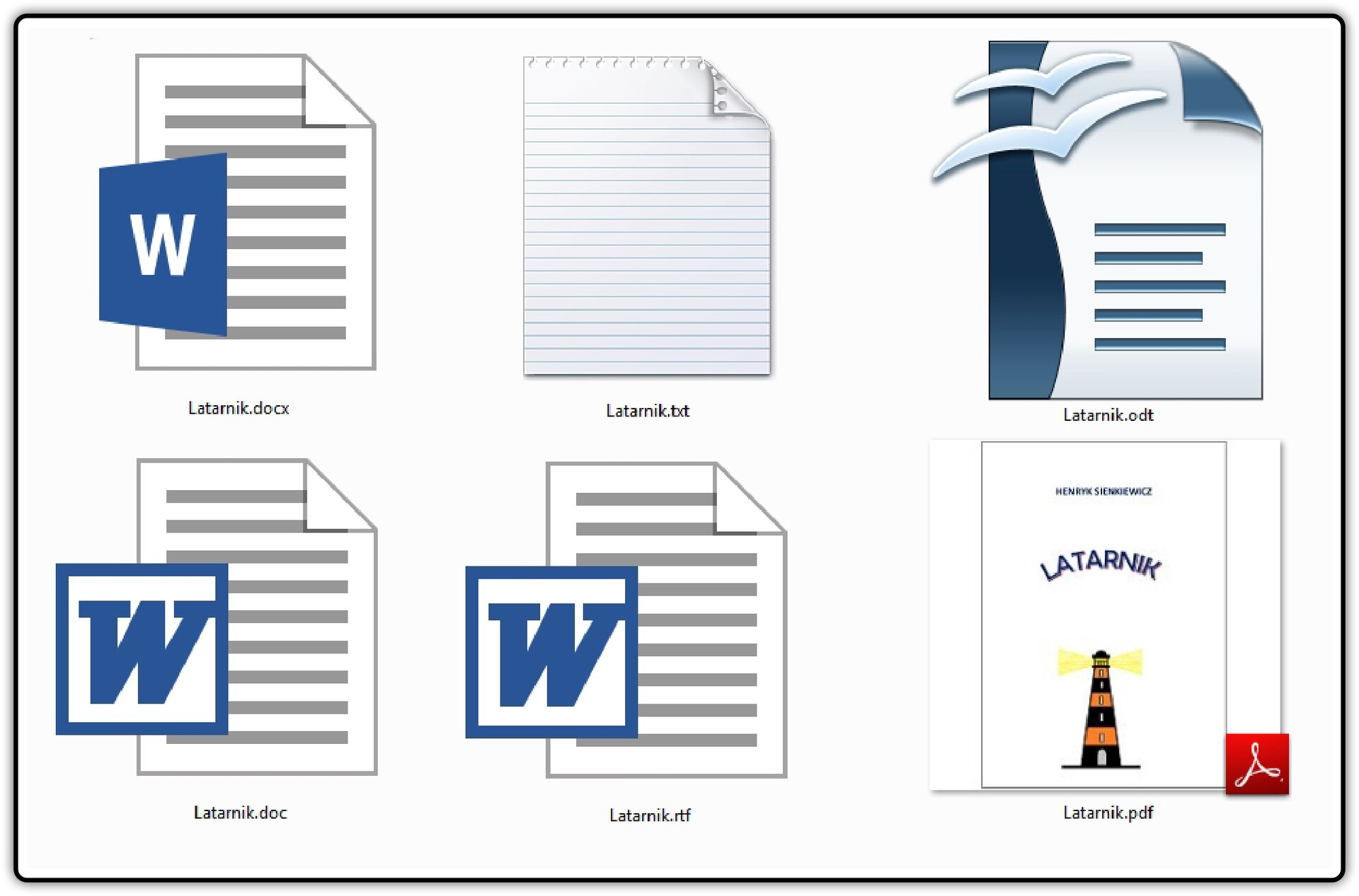Zrzut przykładowych ikon tego samego pliku tekstowego zapisanego wróżnych formatach