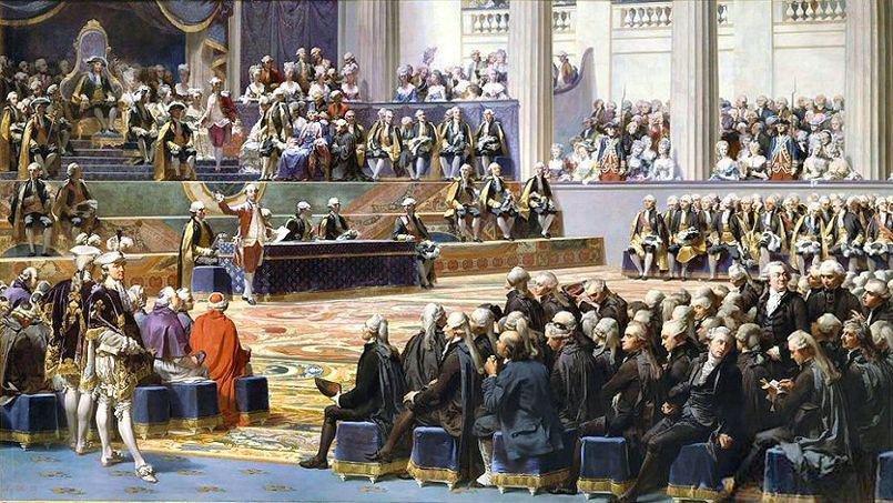 Obraz Augusta Coudera (1790-1873) z1839 przedstawiający otwarcie stanów generalnych – na tronie na podwyższeniu siedzi Ludwik XVI. Obraz Augusta Coudera (1790-1873) z1839 przedstawiający otwarcie stanów generalnych – na tronie na podwyższeniu siedzi Ludwik XVI. Źródło: Auguste Couder, 1839, domena publiczna.