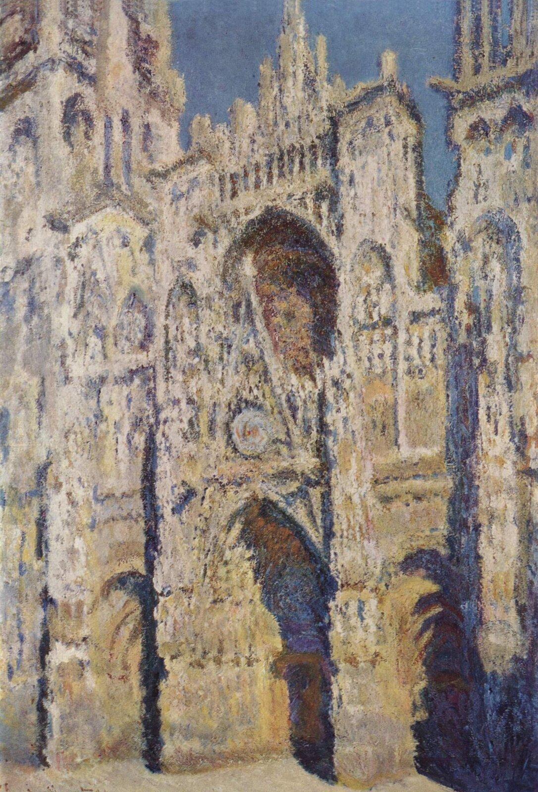 """Ilustracja przedstawia obraz Claude Moneta pt. """"Katedra wRouen"""". Obraz pochodzi z1894 roku. Na obrazie przedstawiono paryską katedrę. Artysta za pomocą plam oraz światła nadał budowli rzeczywisty kształt oraz przestrzeń. Widoczne są liczne zdobienia elewacji oraz półkoliste okna imasywne kolumny katedry."""