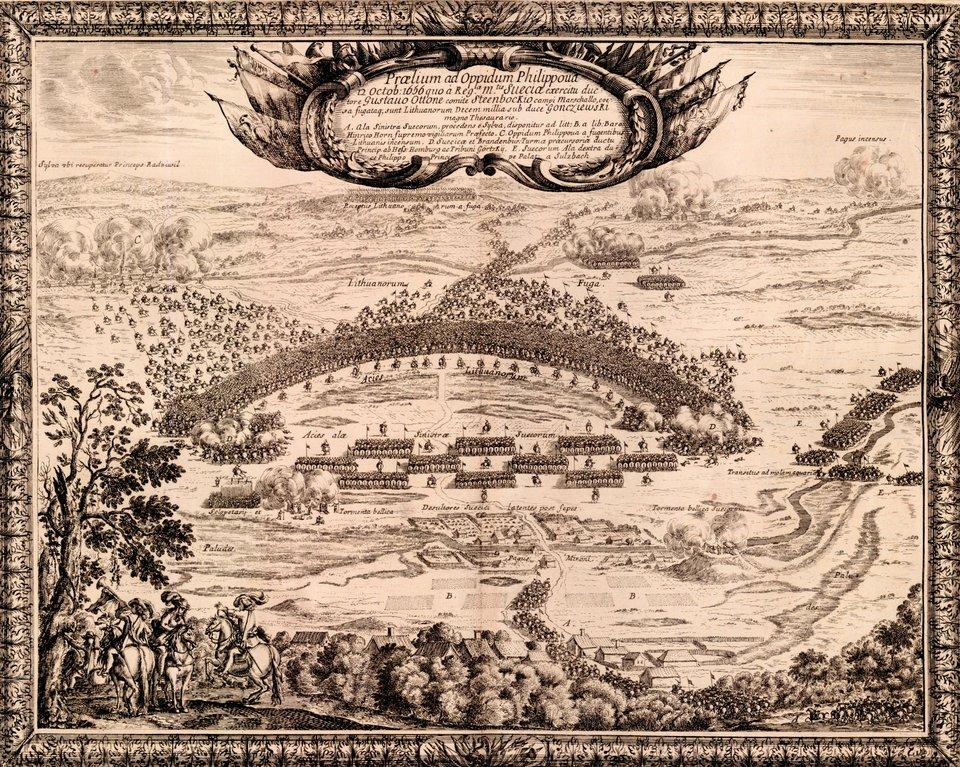 Rozlokowanie wojsk litewskich oraz szwedzko-brandenburskich wprzegranej bitwie pod Filipowem (22 października 1656 roku).