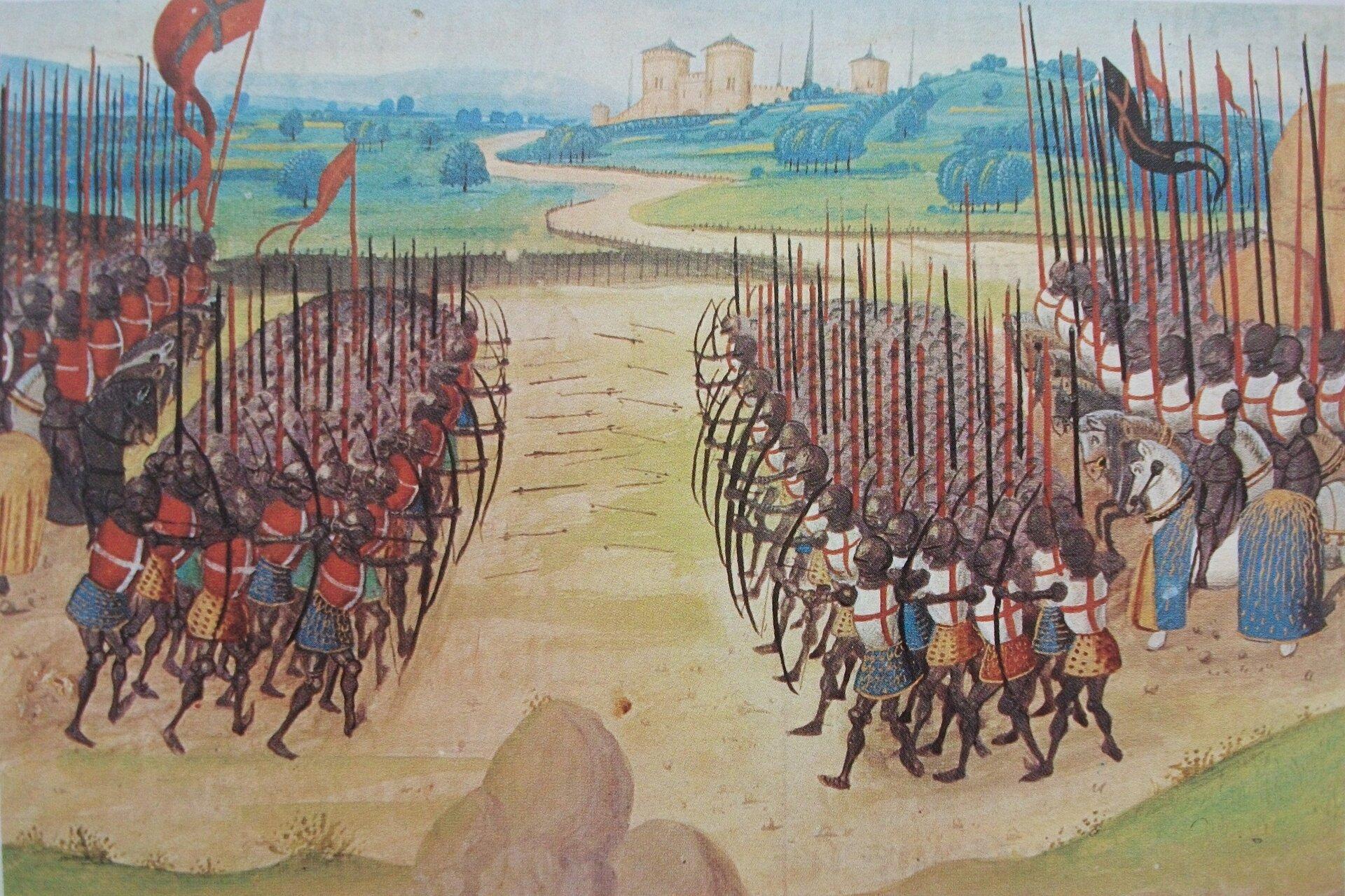 obraz przedstawiający bitwę podAzincourt, wśrodku widać szeregi łuczników
