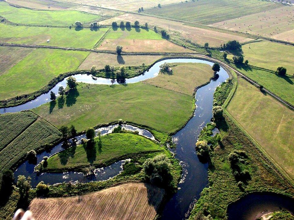 Na zdjęciu rozległa równina. Łąki, pastwiska, zaorane pola. Środkiem płynie rzeka, która tworzy meandry czyli zakręty, pętle inawroty. Zlewej strony koryta rzeki starorzecze wpostaci łukowatego jeziora. Brzegi rzeki porośnięte krzewami idrzewami.