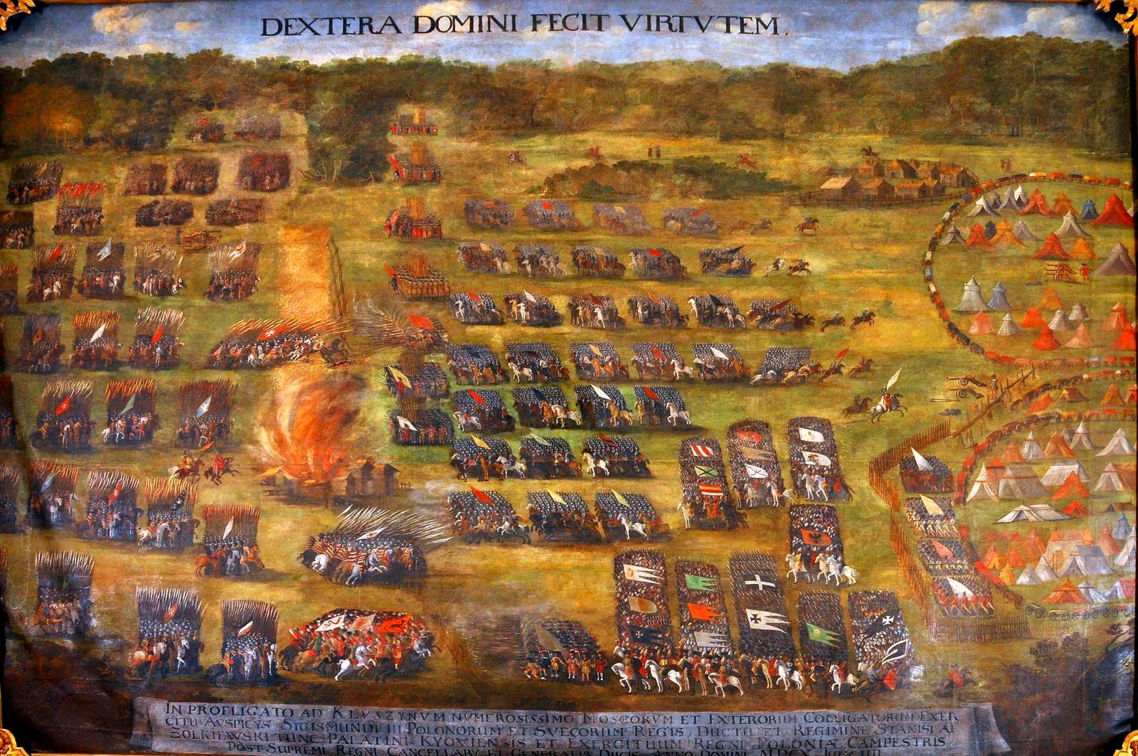 obraz ukazuje symboliczne wyobrażenie ataku husarii wczasie bitwypod Kłuszynem.