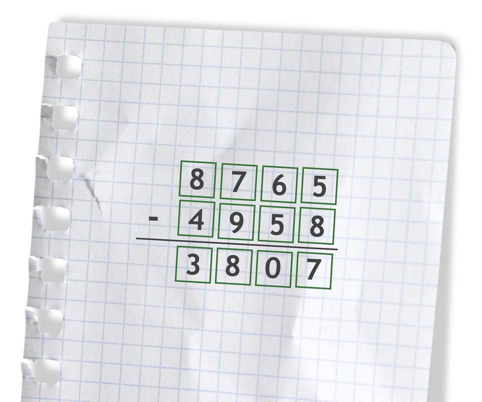 Przykład: 8765 -4958 =3807. Rozwiązanie zadania.