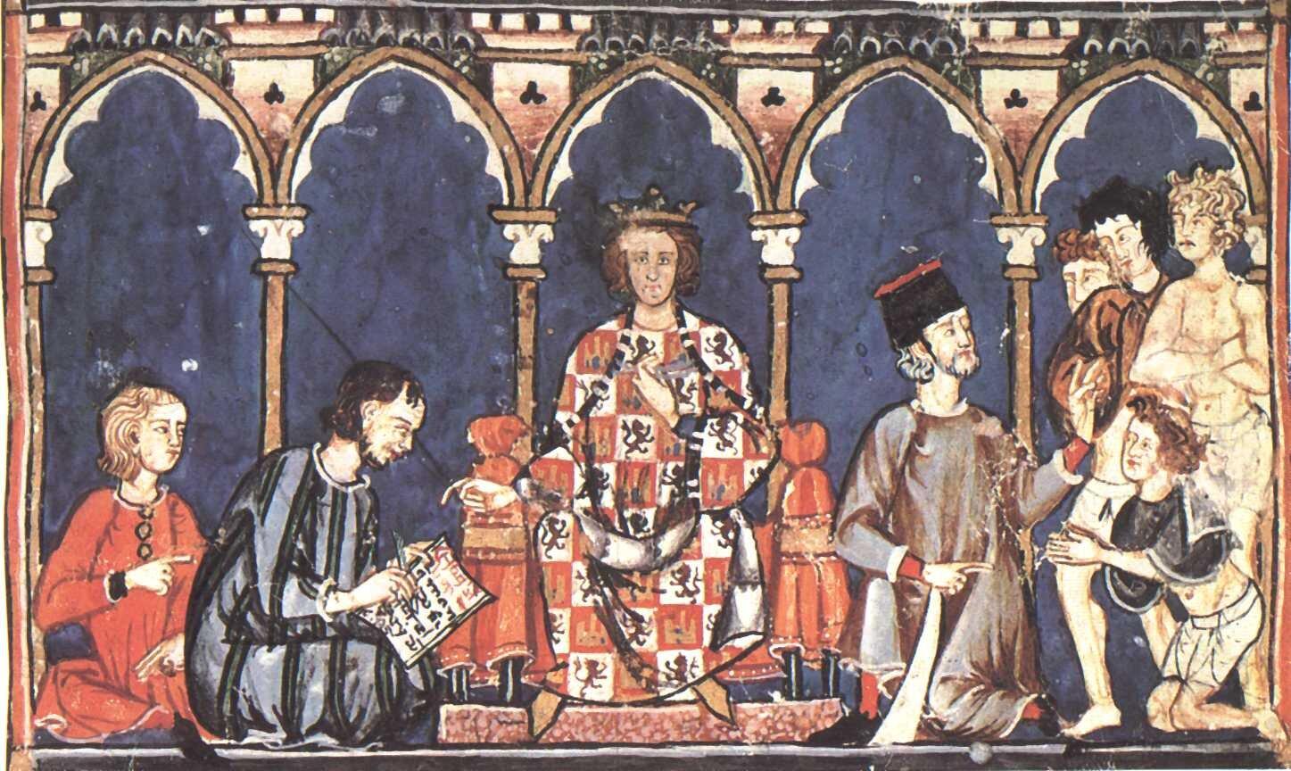Scena przedstawiająca króla Niemiec Alfonsa XMądrego Źródło: Scena przedstawiająca króla Niemiec Alfonsa XMądrego, licencja: CC 0.