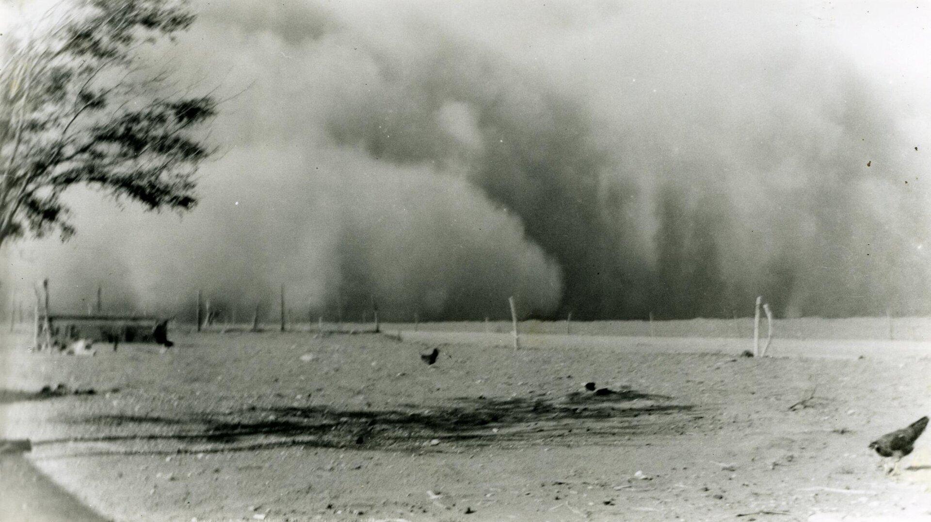 Czarno-biała fotografia prezentuje burzę pyłową. Na horyzoncie widoczna olbrzymia chmura szarego pyłu przemieszczająca się wkierunku obserwatora.