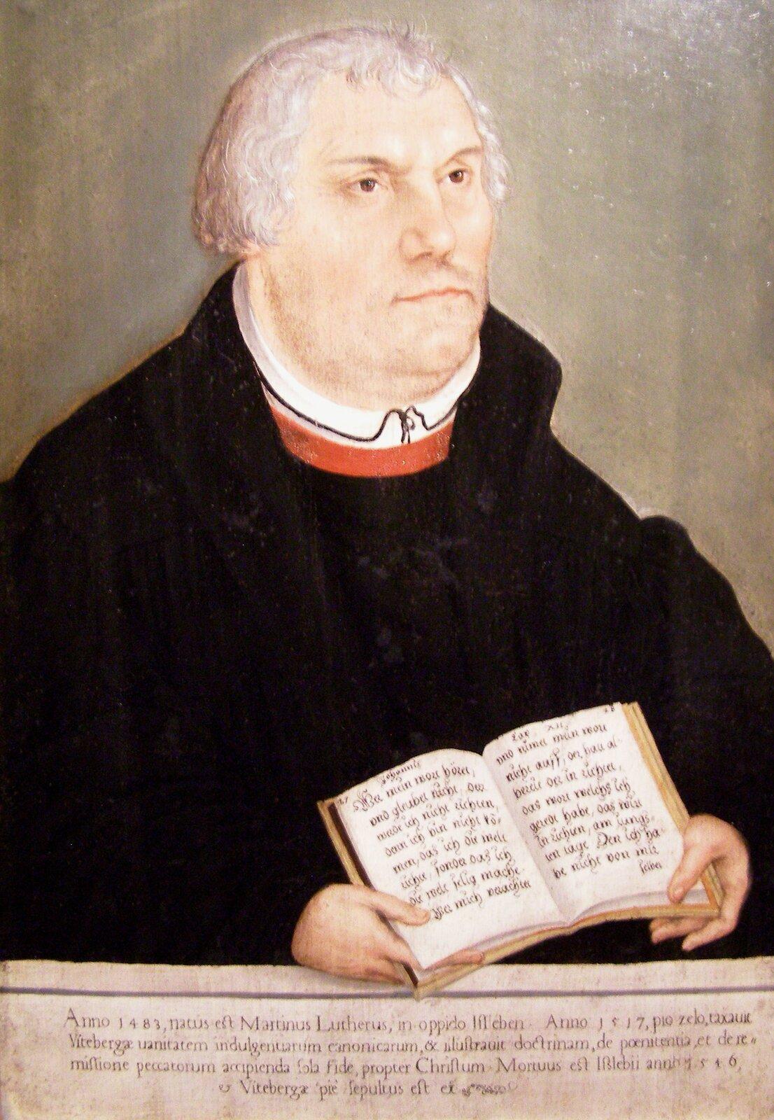 Portret Marcina Lutra Portret Marcina Lutra Źródło: Lucas Cranach młodszy, koniec XVI wieku, domena publiczna.